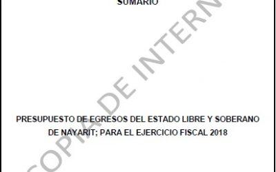 PRESUPUESTO DE EGRESOS DEL ESTADO LIBRE Y SOBERANO DE NAYARIT; PARA EL EJERCICIO FISCAL 2018